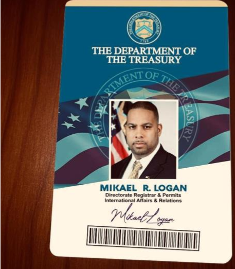 Fake ID from the treasury Mikael R. Logan, 2021
