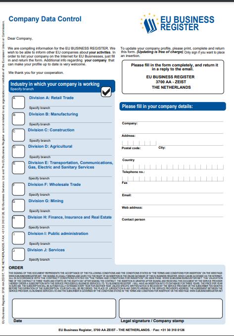 Form from EU Business List, Screenshot, 2021