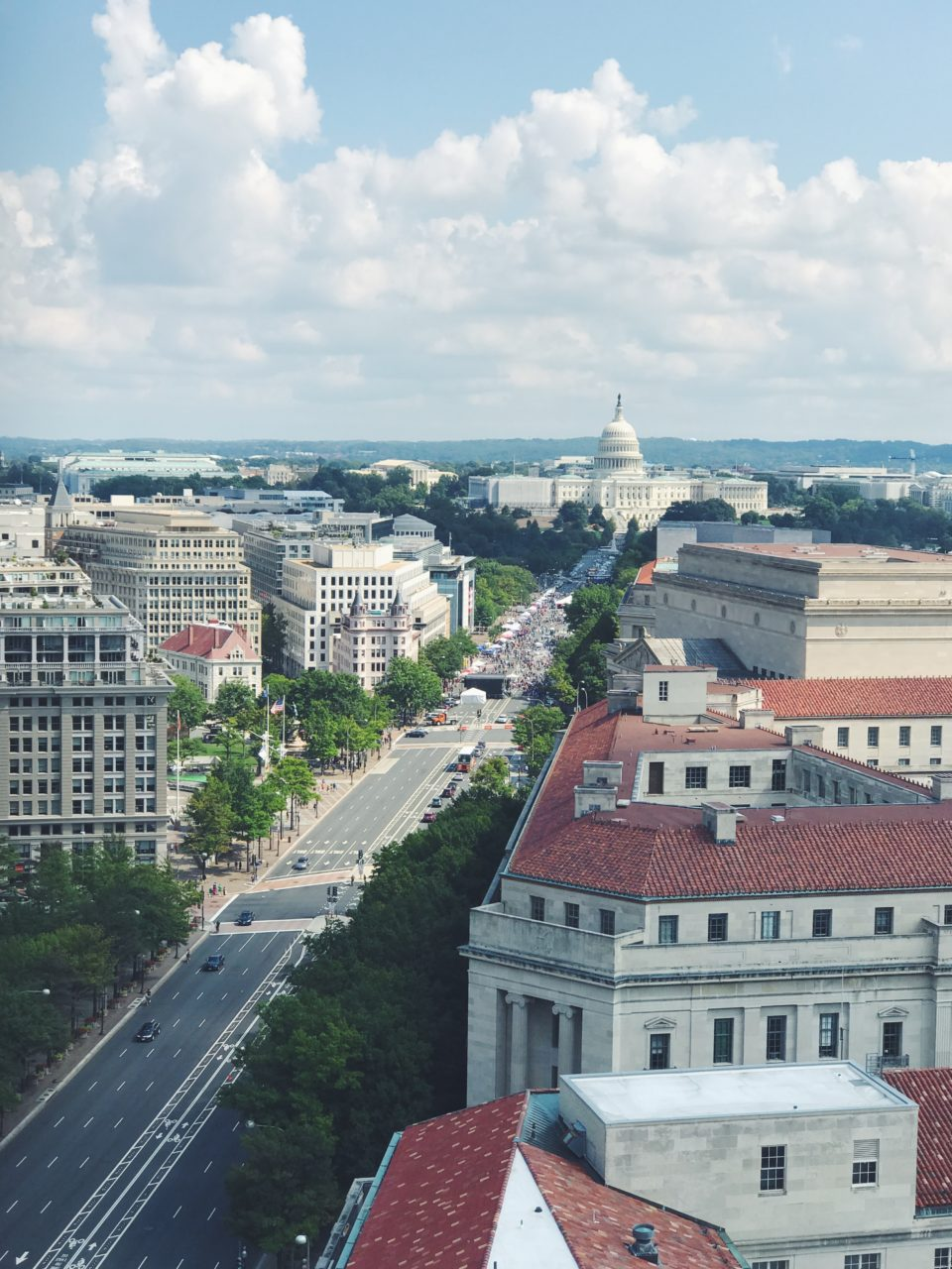 View from above to Washington DC, US Capitol Building. Constitution Avenue.